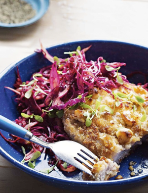Delicious Macadamia crumbed pork schnitzel with 'Aussiekraut'