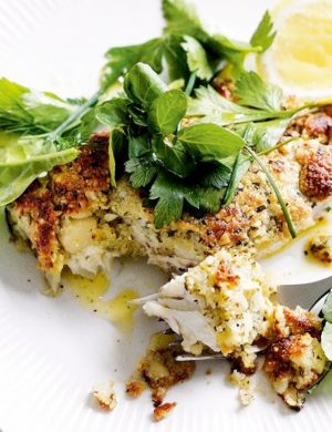 Delicious Magazine Macadamia Crusted Fish with Herb Salad