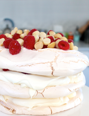 Maggie Beer's Macadamia Pavlova with fresh fruit