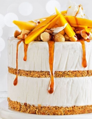 MANGO, COCONUT AND MACADAMIA ICE CREAM LAYER CAKE WITH CHILLED LIME CARAMEL